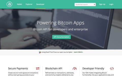 Screenshot of Developers Page blocktrail.com - BLOCKTRAIL | Bitcoin API and Block Explorer - captured Jan. 15, 2016