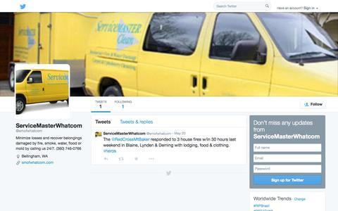 Screenshot of Twitter Page twitter.com - ServiceMasterWhatcom (@smofwhatcom)   Twitter - captured Oct. 26, 2014