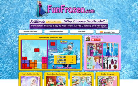 Screenshot of Home Page funfrozen.com - ⭐⭐⭐Frozen Games —Disney Frozen Games, Free Frozen Puzzles and Coloring Games Online - captured Oct. 13, 2015