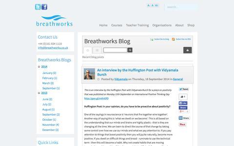 Screenshot of Blog breathworks-mindfulness.org.uk - Recent blog posts - Breathworks Mindfulness - Breathworks Blog - captured Oct. 5, 2014