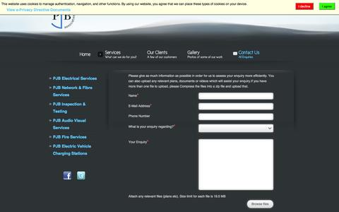 Screenshot of Contact Page pjbassociates.co.uk - Contact Us - captured Oct. 1, 2014