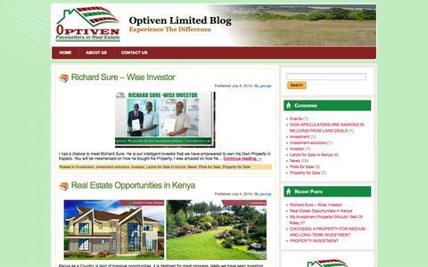 Screenshot of Blog optiven.co.ke - Optiven Limited Blog - captured Oct. 6, 2014