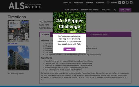 Screenshot of Maps & Directions Page als.net - Address and Directions | ALS Therapy Development Institute - captured Jan. 26, 2018