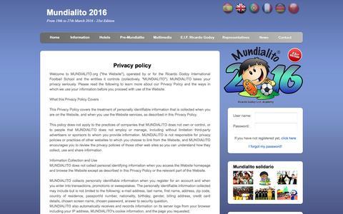 Screenshot of Privacy Page mundialito.org - Mundialito - captured Feb. 16, 2016