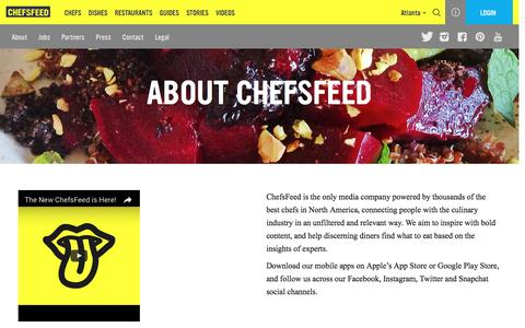 Screenshot of About Page chefsfeed.com - About Us   ChefsFeed - captured Oct. 1, 2016
