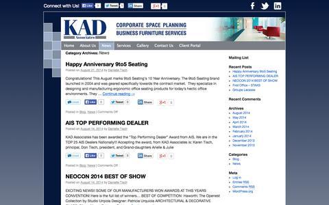Screenshot of Press Page kad-associates.com - News | KAD Associates - captured Sept. 30, 2014