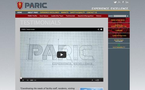 Screenshot of Testimonials Page paric.com - Testimonials - PARIC - captured Oct. 1, 2014