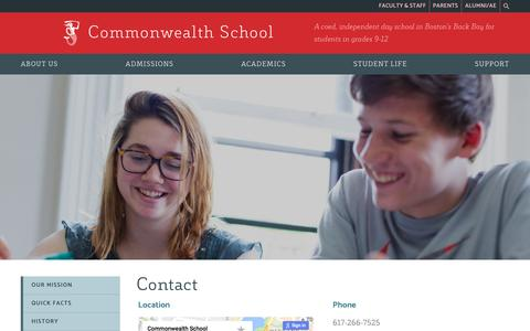 Screenshot of Contact Page commschool.org - Contact - Commonwealth School - captured Nov. 9, 2016
