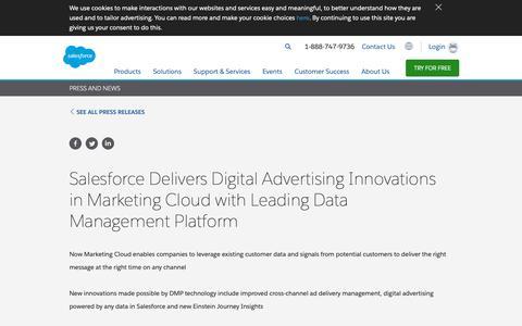 Screenshot of Press Page salesforce.com - Salesforce Delivers Digital Advertising Innovations in Marketing Cloud with Leading Data Management Platform - Salesforce.com - captured Dec. 22, 2018