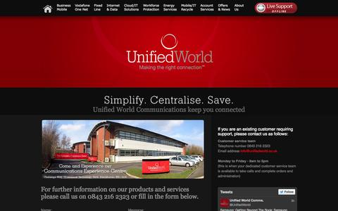 Screenshot of Contact Page unifiedworld.co.uk - Unified World - Unified World Communications contact details and form - captured Oct. 9, 2014