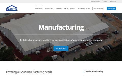Screenshot of mahaffeyusa.com - manufacturing - captured March 20, 2016