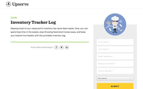 Screenshot of Landing Page upserve.com - Restaurant Inventory Management Template | Upserve - captured Dec. 30, 2017