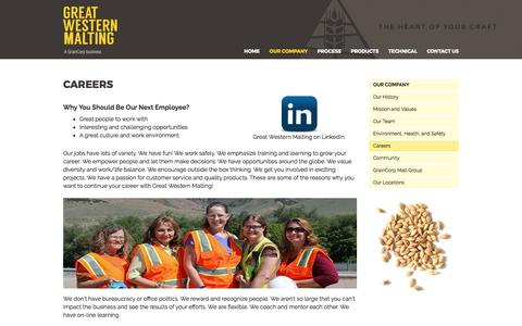 Screenshot of Jobs Page greatwesternmalting.com - Great Western Malting Trainee Program | Great Western Malting Careers - captured Sept. 19, 2017