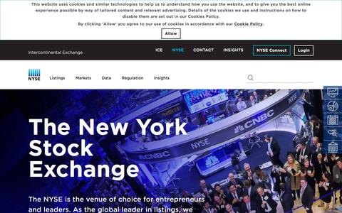 Screenshot of Home Page nyse.com - The New York Stock Exchange | NYSE - captured Oct. 11, 2019