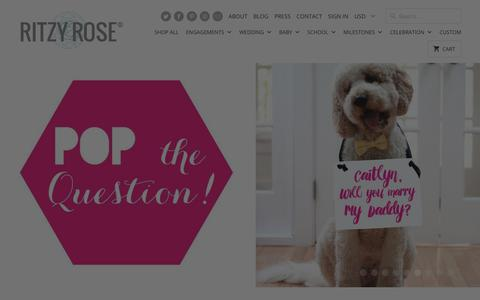 Screenshot of Home Page theritzyrose.com - Ritzy Rose | Handmade Signs + Announcements | Weddings, Baby + Moments - captured Sept. 21, 2018