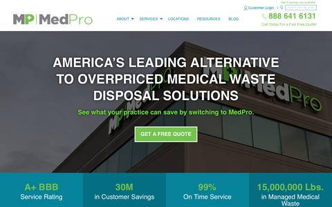 Screenshot of Home Page medprodisposal.com - Homepage - MedPro Medical Waste Disposal - captured July 21, 2018
