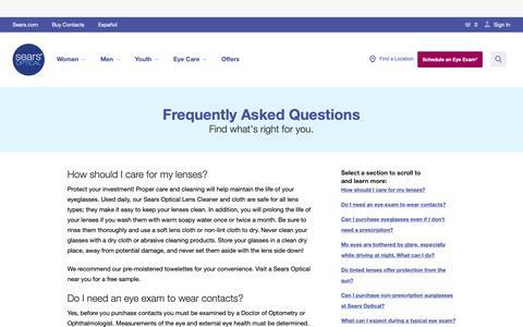 Screenshot of FAQ Page searsoptical.com - FAQ: Contacts, Sunglasses, Eyeglasses | Sears Optical - captured Oct. 21, 2018
