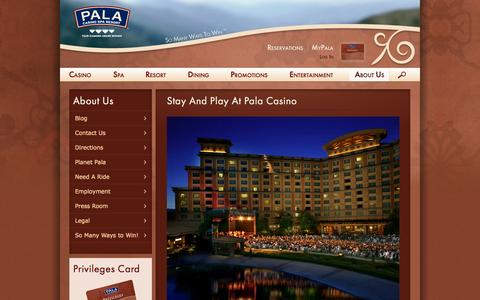 Screenshot of About Page palacasino.com - About Us | Pala Casino - captured Sept. 25, 2014