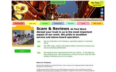 Screenshot of Testimonials Page findworkabroad.com - Scam & Reviews, Findworkabroad - captured Sept. 30, 2014