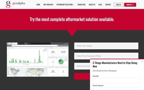 Screenshot of Signup Page genalpha.com - Get a Demo | eCatalog & eCommerce Manufacturing Software - captured July 12, 2016