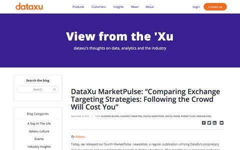 "Screenshot of Pricing Page dataxu.com - DataXu MarketPulse: ""Comparing Exchange Targeting Strategies: Following the Crowd Will Cost You"" - dataxu, inc. - captured Nov. 18, 2019"