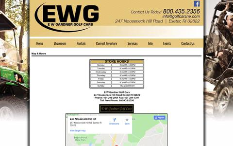 Screenshot of Maps & Directions Page golfcarsne.com - Stop in at E W Gardner Golf Cars at 247 Nooseneck Hill Road, Exeter, RI 02822. - captured Sept. 25, 2018