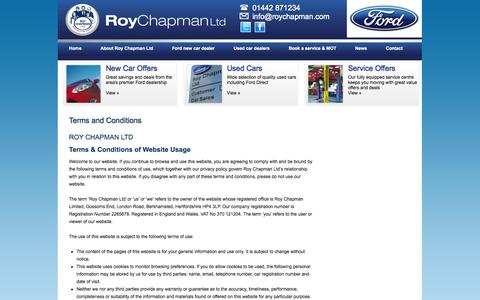 Screenshot of Terms Page roychapman.com - Terms and Conditions | Roy Chapman - captured Oct. 9, 2014
