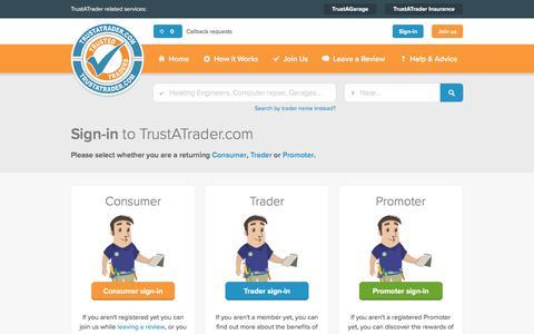 Screenshot of Login Page trustatrader.com - Sign-in to TrustATrader.com | TrustATrader - captured Oct. 12, 2017