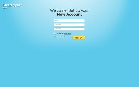 Screenshot of Signup Page strategyzer.com - Strategyzer • Sign Up - captured Sept. 22, 2014