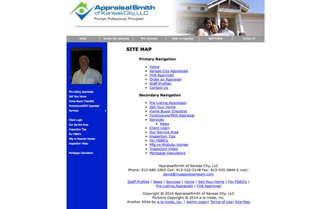 Screenshot of Site Map Page myappraiserteam.com - Site Map - AppraisalSmith of Kansas City, LLC - captured Oct. 4, 2014