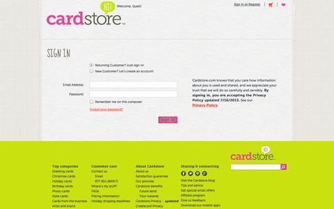 Screenshot of Login Page cardstore.com captured Sept. 22, 2014