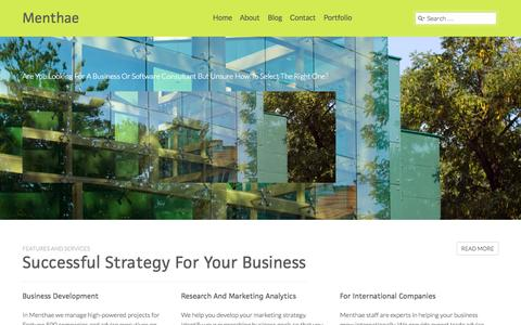 Screenshot of Home Page menthae.biz - Menthae | Consulting. Information Technology. Outsourcing. - captured Sept. 30, 2014