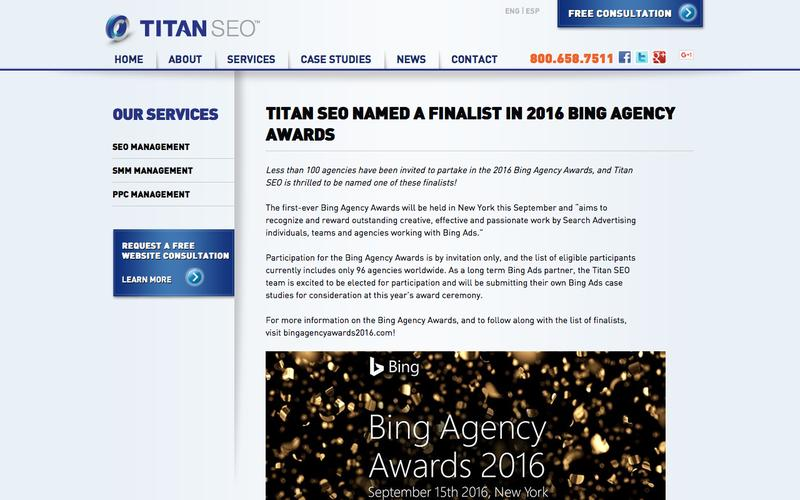 Titan SEO Named a Finalist in 2016 Bing Agency Awards