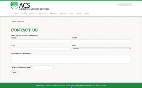 Screenshot of Contact Page acsoffice.com - Contact Us | Agricultural Consulting Services - captured Feb. 5, 2016