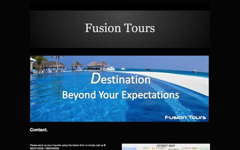 Screenshot of Home Page fusiontour.in - Contact - captured Oct. 6, 2014