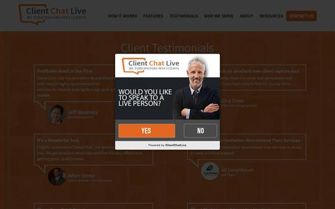 Screenshot of Testimonials Page clientchatlive.com - Testimonials | Client Chat Live - captured July 14, 2016