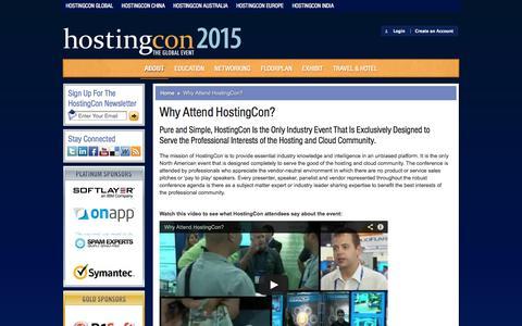 Screenshot of About Page hostingcon.com - Why Attend HostingCon? | HostingCon - captured Nov. 2, 2014