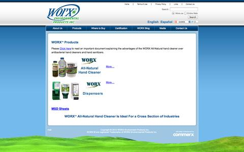 Screenshot of Products Page worx.ca - Worx | Products - captured Oct. 9, 2014