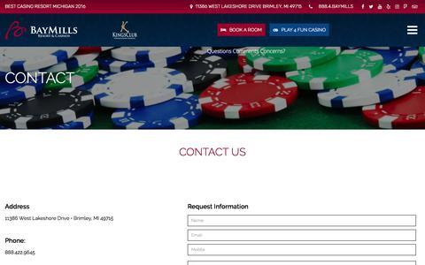 Screenshot of Contact Page baymillscasinos.com - Contact - Bay Mills Resort & Casinos - captured Feb. 10, 2018