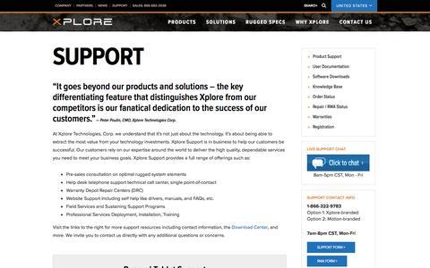 Screenshot of Support Page xploretech.com - Support - captured Nov. 30, 2016