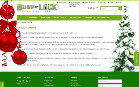 Screenshot of Privacy Page bumpmylock.com - Privacy Policy - captured Jan. 7, 2016