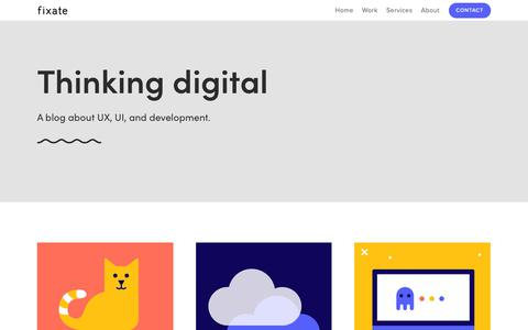 Screenshot of Blog fixate.it - UX, UI, And Development Blog | Fixate — UX Agency | UI Agency | South Africa | Fixate - captured Dec. 9, 2018
