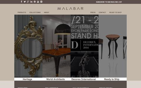 Screenshot of Home Page malabar.com.pt - Homepage | Malabar Exclusive Artisanal Furniture - captured Sept. 19, 2014