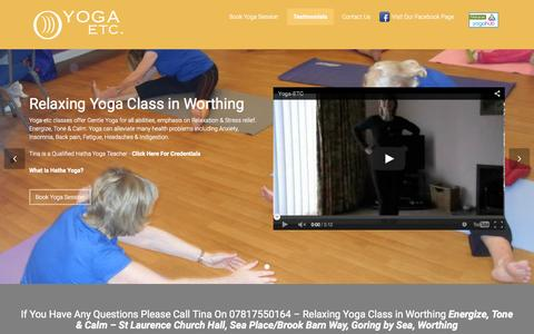 Screenshot of Home Page yoga-etc.co.uk - Relaxing Hatha Yoga Class in Worthing | Yoga-Etc - captured Jan. 29, 2015