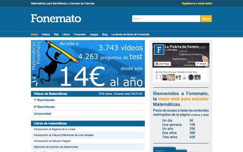 Screenshot of Home Page matematicasbachiller.com - MATEMÁTICAS. Ejercicios resueltos. Videos. Apuntes. Bachillerato Universidad UNED PAU acceso 25 - captured Sept. 20, 2015