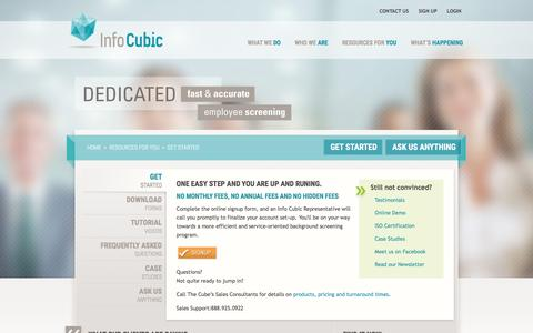 Screenshot of Signup Page infocubic.com - Get started with Info Cubic�s Employment Screening Services - captured Jan. 8, 2016