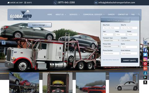 Screenshot of Services Page globalautotransportation.com - Car Shipping Services | Auto Transport | (877) 645- 2288 - captured Nov. 5, 2018