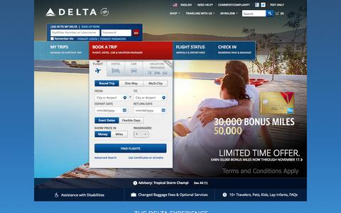 Screenshot of Home Page delta.com - Airline Tickets and Flights to Worldwide Destinations - Delta Air Lines - captured Oct. 14, 2015