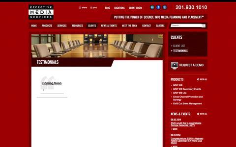 Screenshot of Testimonials Page effectivemediaservices.com - Testimonials | Effective Media Services - captured Oct. 2, 2014