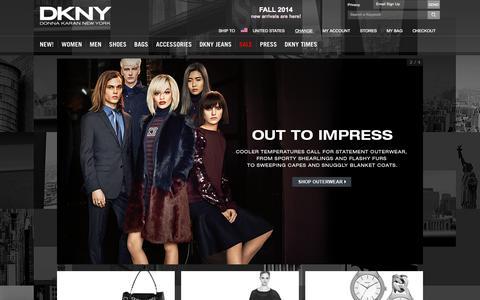Screenshot of Home Page dkny.com - DKNY - Designer Clothing & Fashion - DKNY - captured Sept. 22, 2014